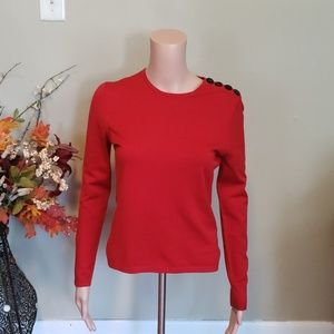 Anne Klein red button shoulder sleeve soft sweater